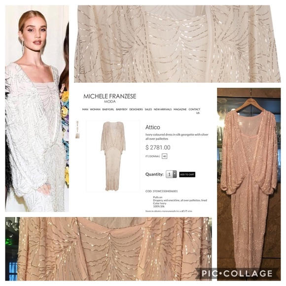 Attico Silk Beaded Georgette Dress